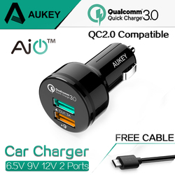 AUKEY For Qualcomm Quick Charger 3.0 9V 12V 2 Port Mini USB Car Charger for iPhone 7 6s iPad Samsung HTC Xiaomi QC2.0 Compatible