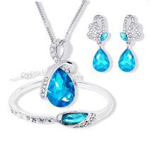 2018 neue Großhandel Österreichischen Kristall Schmuck Sets Wasser Tropfen Anhänger Halskette Bolzen Ohrring Armband Silber Überzogene Schmuck Frauen(China)