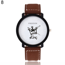 Newest Couple Queen King Crown Fuax Leather Quartz Analog Wrist Watch Chronograph 2017 Wom(China)
