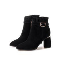 MLJUESE 2019 kadın yarım çizmeler inek süet toka kayış kış sıcak kadın botları yüksek topuklu kadın çizmeler büyük boy 34- 42(China)