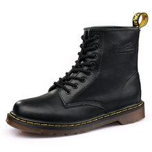 Yeni En kaliteli Ayakkabı Bağcıkları Martens Çizmeler bölünmüş Deri tabanlık Yüksek En Iyi Motosiklet Botları Kış/Sonbahar Doc Martin erkek ayakkabısı(China)