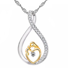Buy Moms Jewelry Birthday Gift Mother Baby Heart Charm Pendant Mom Daughter Son Child Family Love Cubic Chain Necklace for $1.62 in AliExpress store