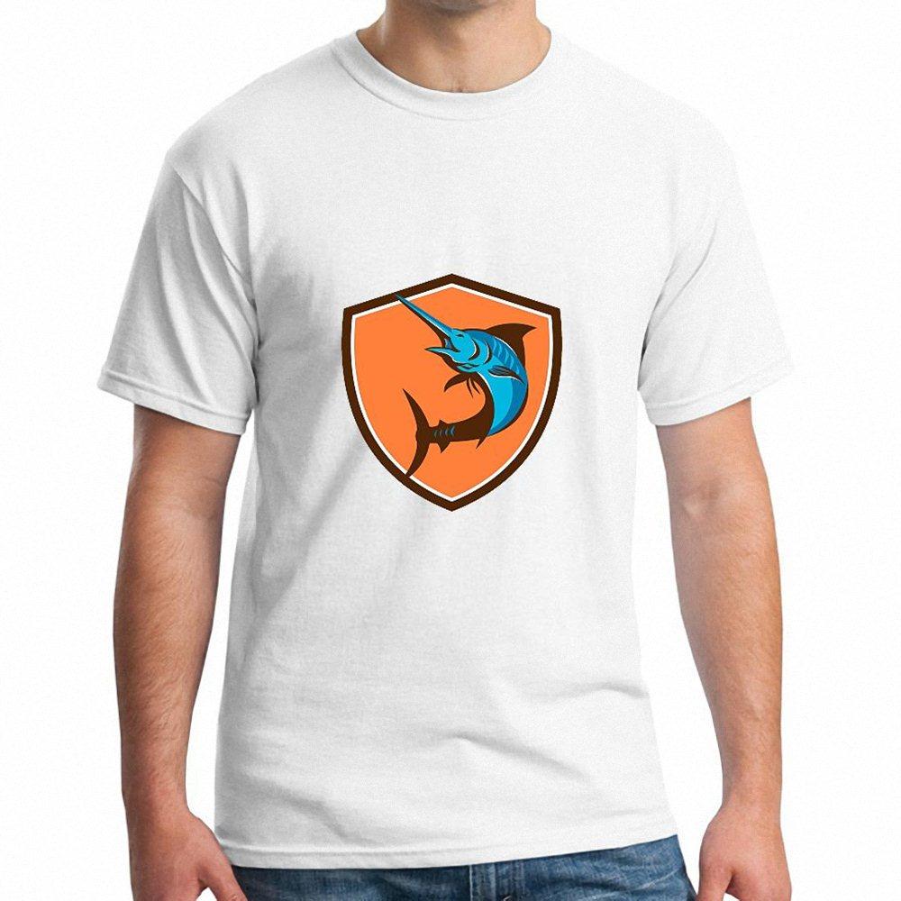 Tees Camiseta Clothing Blue Marlin Fish Jumping Shield Retro t shirt Hot Japan anime 2017 Newest Tops Tees Fashion t shirt(China (Mainland))