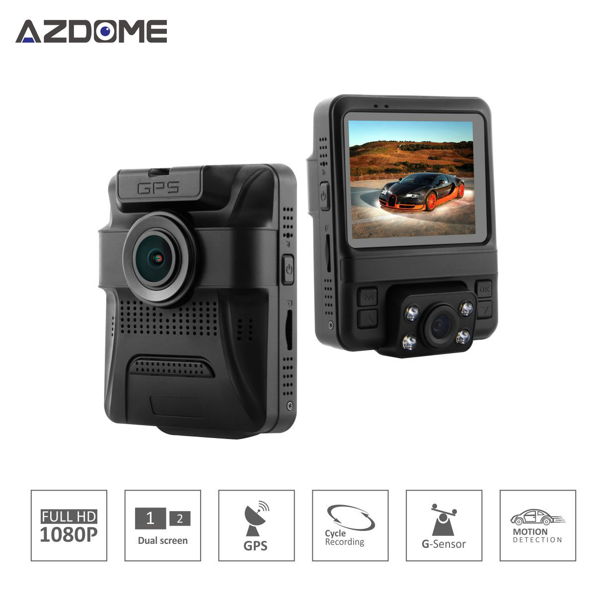 Azdome GS65H Mini Dual Lens Car DVR Camera 1080P Full HD Dash Cam Novatek 96655 Video Recorder Built-in GPS Night Vision H49(China (Mainland))
