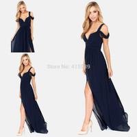 الجديد وصول 2014 bariano المحيطات من الأناقة اللون الأزرق الداكن مساء ملابس النساء الشيفون طويلة فعاليات wl282 ثوب الشحن مجانا